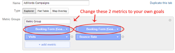 Configuring Goals in Custom Report