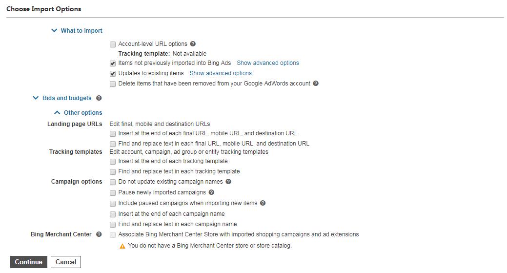 Bing Import Screen