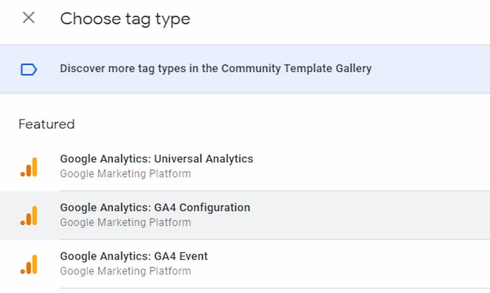 Select GA4 Configuration Tag