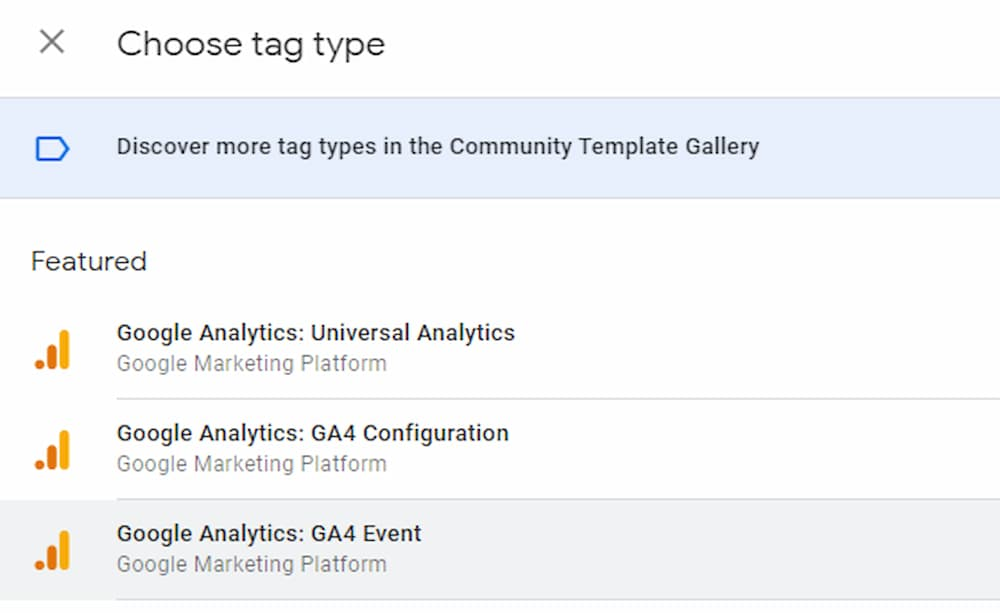GA4 Event Tag Type Selection