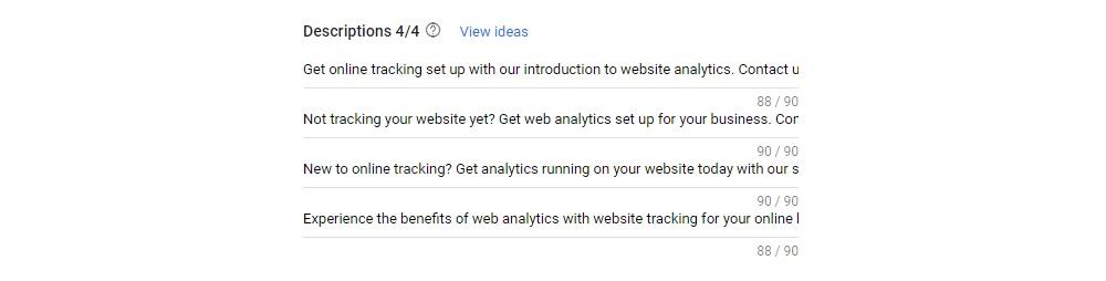 Responsive Search Ads Description Options
