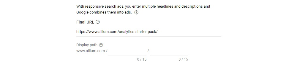 Responsive Search Ads Landing Page Selection